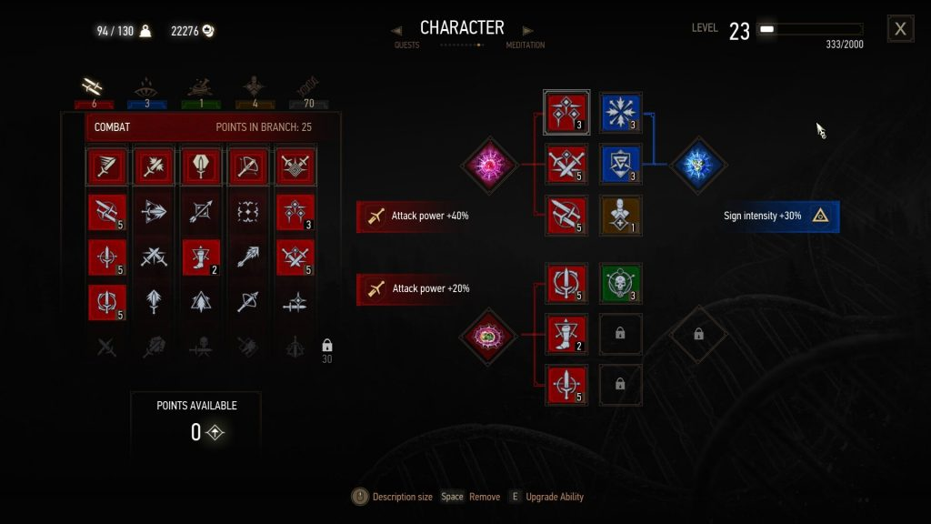 Witcher 3 Best Death March Build Spec Combat Tree