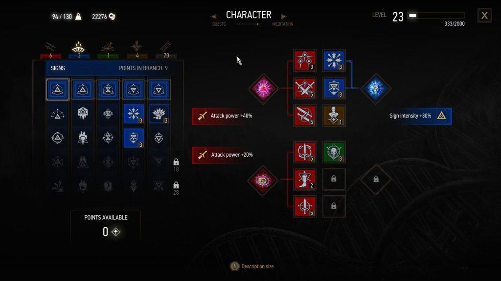 Witcher 3 Best Death March Build Spec Sign Tree