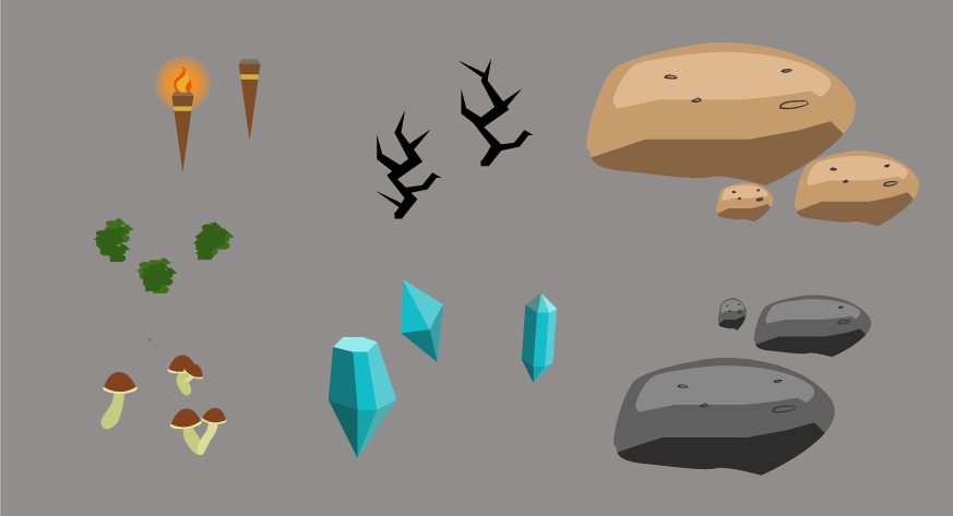 Assets that I created for game jam using Illustrator
