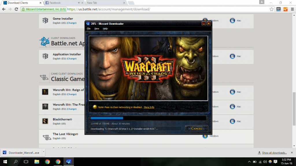 Downloading WC3 via the Blizzard Downloader