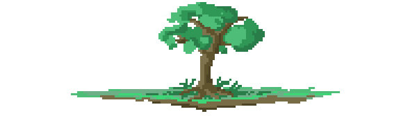 Tree on Land Pixel Art