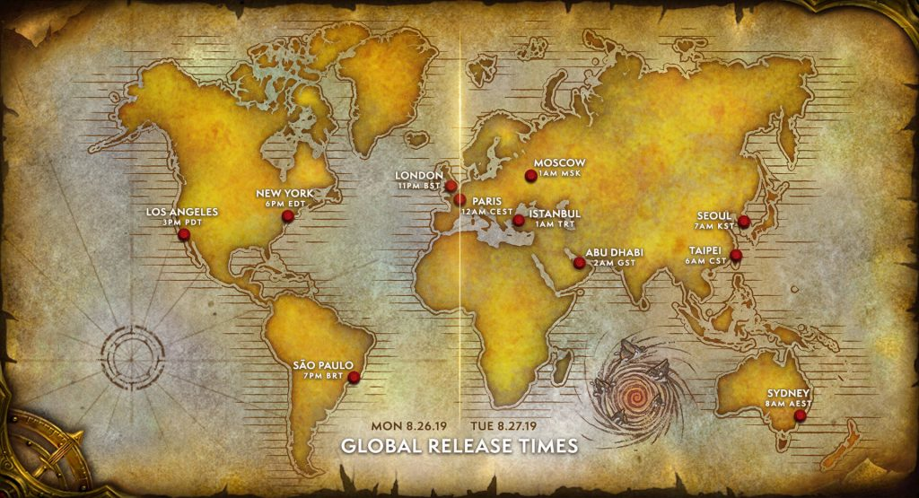 WOW-Classic Global Release Map